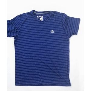 Adidas Mens Blue Striped Logo Front Crew Shirt